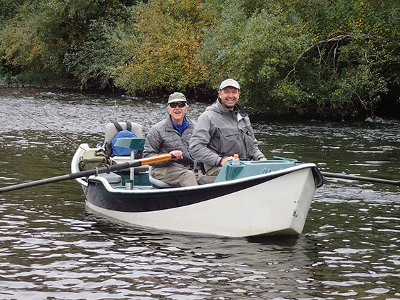 Ted Leeson and Willard Greenwood fly fishing for cutthroat trout on a coastal Oregon river in October, 2017.