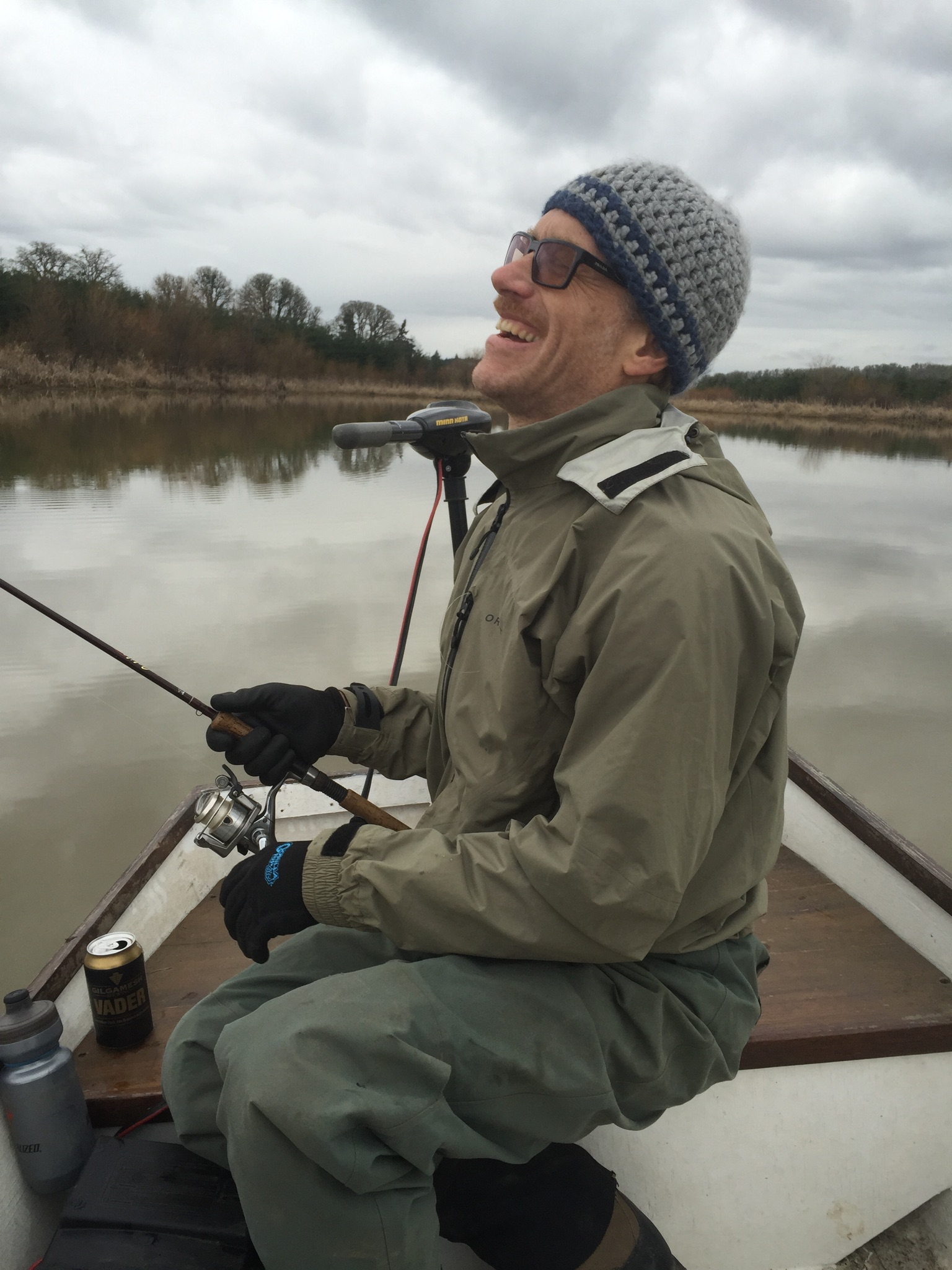 Photographer, illustrator and engineer, Paul Shirkey, laughs on Turner Lake, January, 2017.
